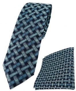 schmale TigerTie Krawatte + Einstecktuch mint blau schwarz - Motiv Flechtmuster