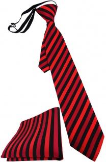 Kinderkrawatte + Einstecktuch rot schwarz gestreift - vorgebunden mit Gummizug