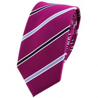Schmale TigerTie Krawatte magenta violett blau weiss gestreift - Schlips Binder