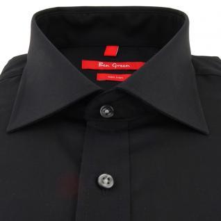 Ben Green Herrenhemd schwarz Uni langarm bügelfrei - New-Kent-Kragen Hemd Gr.47 - Vorschau 2