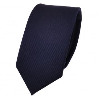 Schmale TigerTie Designer Krawatte blau dunkelblau marine Uni Rips - Binder Tie