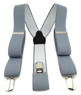 TigerTie Unisex Hosenträger mit 3 extra starken Clips - grau einfarbig Uni