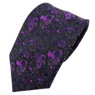 TigerTie Krawatte lila magenta schwarz grau gemustert Paisley - Binder Tie