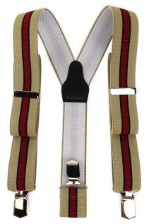 TigerTie Unisex Hosenträger, 3 extra starken Clips - beige schwarz rot gestreift