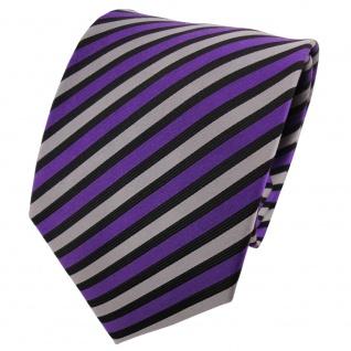 TigerTie Seidenkrawatte lila silber schwarz gestreift - Krawatte Seide Binder