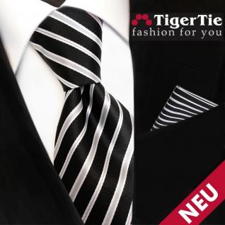 Set TigerTie Designer Krawatte + Einstecktuch schwarz grau silber gestreift