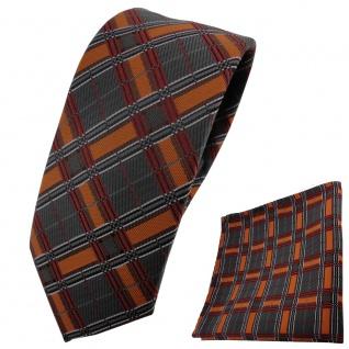 Schmale TigerTie Designer Krawatte+Einstecktuch orangeschwarz anthrazitgestreift
