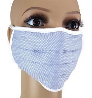 TigerTie Gesichtsmaske mit Nasenbügel Pique hellblau gemustert mit Schnürbändchen