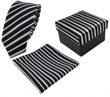 3er Set schmale TigerTie Krawatte + Einstecktuch + Box in schwarz grau gestreift