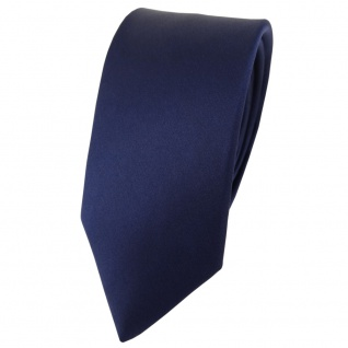 schmale TigerTie Satin Seidenkrawatte in marine einfarbig - Krawatte 100% Seide