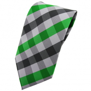 TigerTie Krawatte grün smaragdgrün silber grau anthrazit kariert - Tie Binder