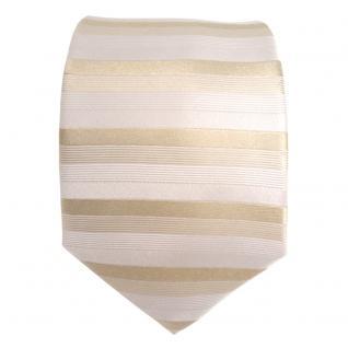 feine Designer Seidenkrawatte in beige grau gestreift - Krawatte 100% Seide - Vorschau 2