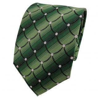 TigerTie Seidenkrawatte grün maigrün schwarz silber gemustert - Krawatte Seide