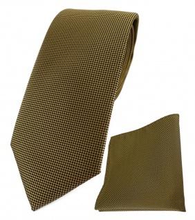 TigerTie Krawatte + Einstecktuch dunkles gold fein gepunktet - Breite 7 cm