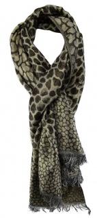 TigerTie Schal in dunkelbraun grau gold Glitzer gemustert- 200 x 70 cm