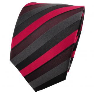 Satin Seidenkrawatte rot bordeaux anthrazit schwarz gestreift - Krawatte Seide