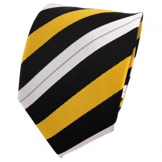 TigerTie Designer Seidenkrawatte gelb sonnengelb schwarz silber gestreift