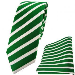 schmale TigerTie Seidenkrawatte + Seideneinstecktuch in grün silber gestreift
