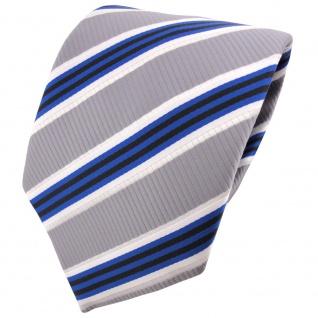 TigerTie Designer Krawatte blau silber grau weiß schwarz gestreift - Binder Tie