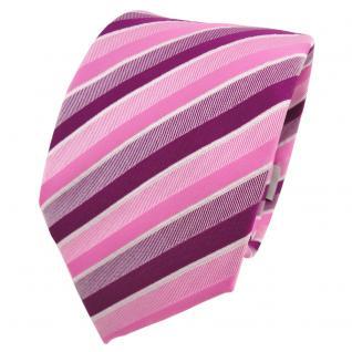TigerTie Krawatte rosa pink magenta fuchsia weiß gestreift - Schlips Binder Tie