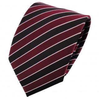 TigerTie Krawatte rot weinrot bordeaux schwarz silber gestreift - Binder Tie