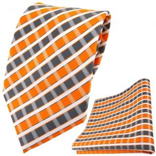 TigerTie Designer Krawatte + Einstecktuch orange grau silber weiss gestreift