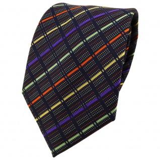 TigerTie Designer Krawatte in gold orange grün violett schwarz gestreift