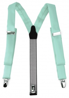 schmaler TigerTie Unisex Hosenträger mit 3 extra starken Clips - mint grün Uni