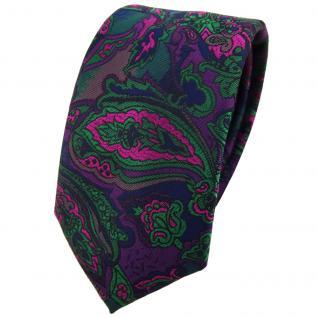 Schmale TigerTie Krawatte in lila grün marine pink mehrfarbig Paisley gemustert