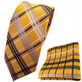 schmale TigerTie Krawatte + Einstecktuch gold silber grau anthrazit kariert