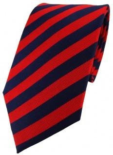 schöne TigerTie Seidenkrawatte in rot dunkelblau gestreift - Krawatte 100% Seide