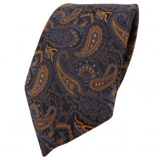 TigerTie Designer Krawatte in braun bronze gold blau schwarz Paisley gemustert