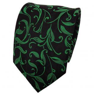 TigerTie Seidenkrawatte grün smaragdgrün schwarz gemustert - Krawatte Seide Silk