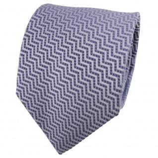 TigerTie Satin Seidenkrawatte blau fernblau blaugrau gemustert - Krawatte Seide