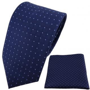 TigerTie Designer Krawatte + Einstecktuch blau dunkelblau hellblau gepunktet