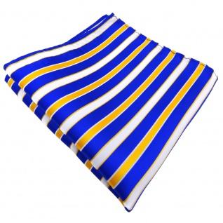 TigerTie Einstecktuch blau royal gelb sonnengelb weiß gestreift - Tuch Polyester