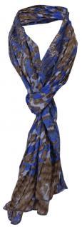 gecrashter Schal in blau royal braun mit Tierfellmuster - Gr. 170 x 50 cm