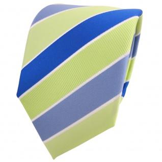TigerTie Designer Krawatte grün hellgrün blau weiß gestreift - Binder Tie