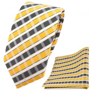 schmale TigerTie Krawatte + Einstecktuch in gelb grau silber weiss gestreift