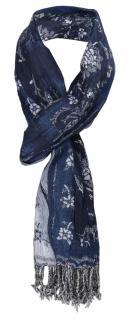Schal blau marine schwarz grau silber gemustert - Gr. 200 x 40 bis 60 cm dehnbar