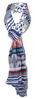 gecrashter Schal in blau weiß beige grün rot gemustert - Gr. 180 x 50 cm
