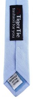 schmale TigerTie Designer Krawatte Pique hellblau-weiss gemustert - Baumwolle - Vorschau 5