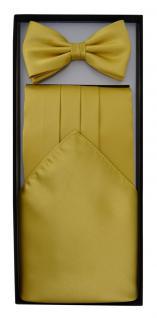 TigerTie - Kummerbund Einstecktuch Satin Fliege in gold - Schärpe Leibbinde - Vorschau 4