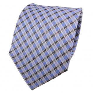 Designer Seidenkrawatte blau hellblau anthrazit silber kariert - Krawatte Seide