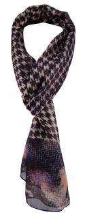 TigerTie Unisex Chiffon Schal in violett braun grau schwarz gemustert