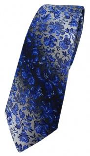 schmale TigerTie Designer Krawatte in marine royal blau silber geblümt gemustert
