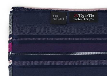 TigerTie Designer Einstecktuch in magenta silber grau weiss schwarz gestreift - Vorschau 3
