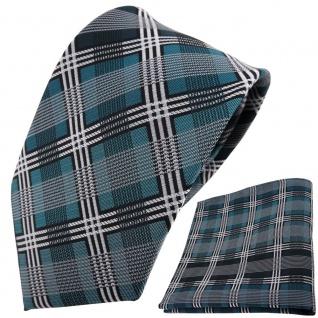 TigerTie Krawatte + Einstecktuch türkis silber grau schwarz kariert