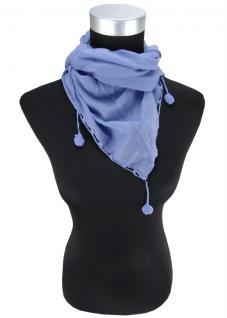 Damen Halstuch Dreieckstuch blau Uni Gr. 160 cm x 75 cm - Tuch Schal Baumwolle