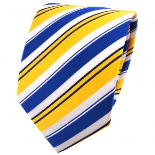 TigerTie Krawatte in gelb blau weiss schwarz gestreift - Binder Tie